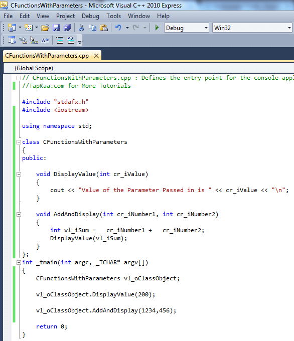 C++ Class with Parameter Passing Functions
