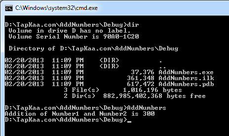 C++ Sample Add Numbers Project Running in Command Prompt Outside Visual Studio