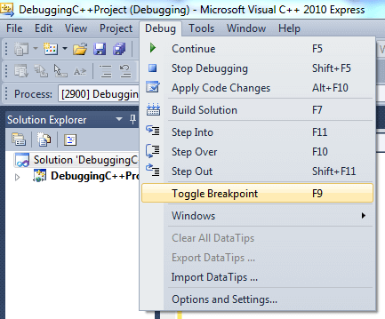Debugging C++ Project in Microsoft Visual Studio Express
