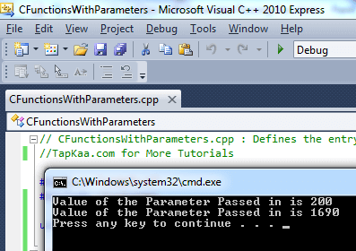 Output of C++ Project to Pass Parameters to Member Functions