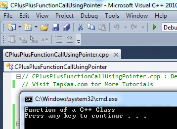 Program Output of Calling Function of a C++Class with Null Pointer