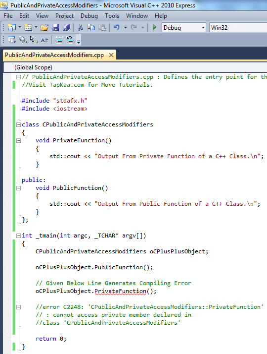 Public and Private Access Modifiers of a C++ Class