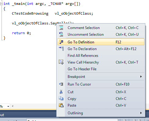 Right Click Menu in Code Editor of Visual Studio
