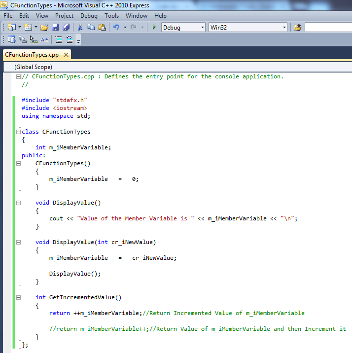 Sample C++ Code with Class Containing Multiple Functions