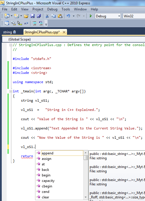 Sample Code to Learn string in C++