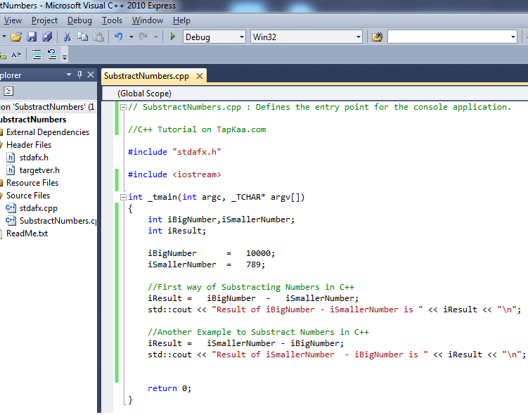 Sample Code to Substract Numbers in C++