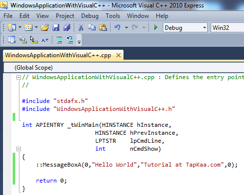 Create Basic Windows Application with Visual C++ Express