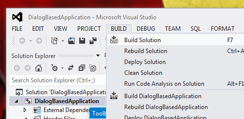 Build Dialog Based Application from Build Menu of Visual Studio