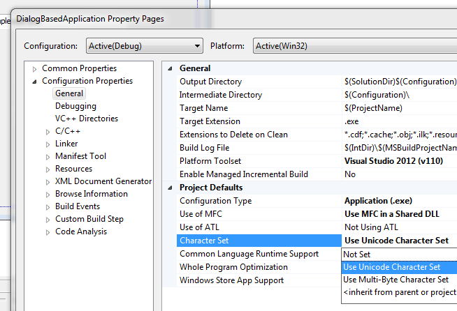 Modify Character Set of a Visual C++ Application