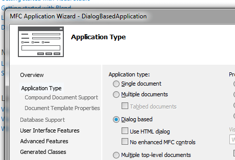 Visual C++ Application Type Configured to Create Dialog Based Application