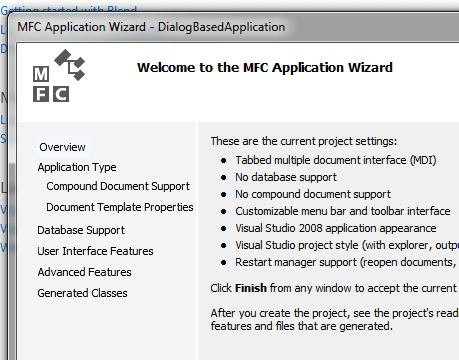 Visual C++ MFC Application Wizard to Create a Dialog Based Application