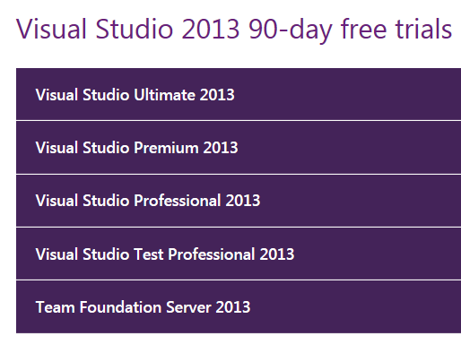 Visual Studio 2013 Trial