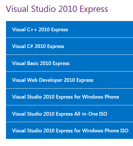 Visual Studio Versions